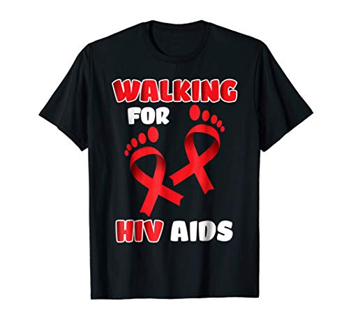 Walk for hiv aids awareness t shirt Support Red ribbon gifts ()