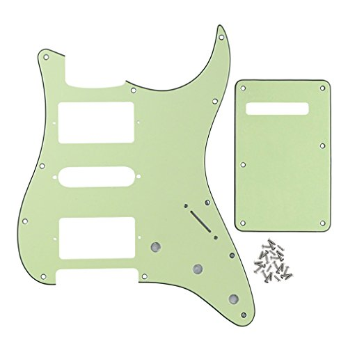 - FLEOR 11 Hole HSH Strat Pickguard & Tremolo Cavity Cover Guitar Backplate w/Screws for American/Mexican Standard Strat Modern Style Guitar Replacement, 3Ply Mint Green