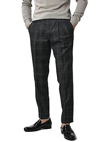 JEORDIE'S ウール グレンチェック ツープリーツ パンツ [並行輸入品] B0761T6DSS  グレー 46