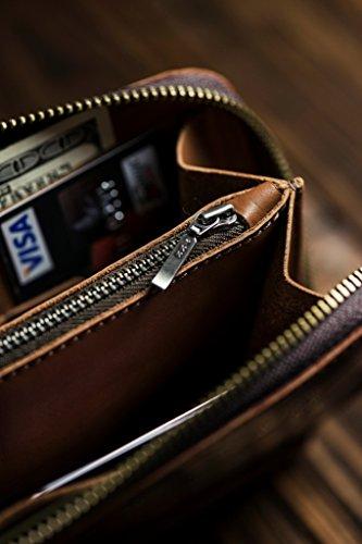 unisex women wallet wallet men clip Clutch money Leather Brown Bag for Pouch xqIpBwBF