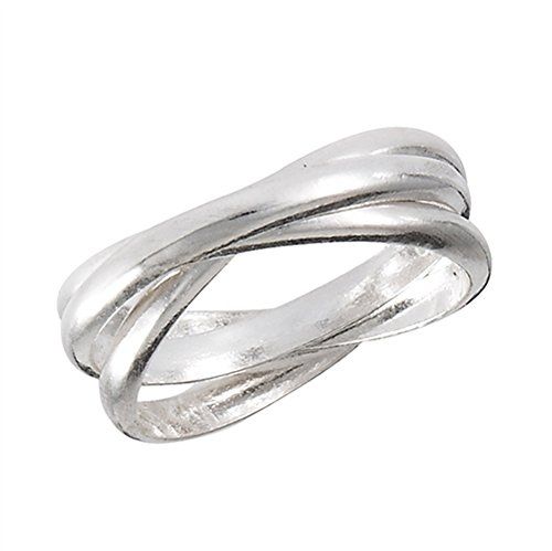 Rolling Ring Silver (Triple Rolling Ring Set New .925 Sterling Silver 2mm Bands Size 7)