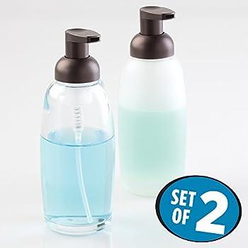 MDesign Glass Foaming Soap Dispenser Pump 2 Pc Bathroom Accessory Set    Clear/Bronze,
