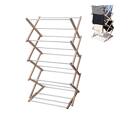 INNOKA 4-Tier Wooden Aluminum Stackable Foldable Clothes Laundry Drying Rack w/ Sturdy Base for Indoor/Outdoor - Home Essentials in Smart Adjustable Design, Perfect For Living Room, Balcony, Basement - Large Drying Space: Hang your clothes, towels and other items to dry all on one rack! This drying rack has a larger capacity and more hanging bars compared than the standard drying rack, allowing you to hang more washing Adjustable Positions: The smart adjustable design gives you 2 different standing positions, so you can use it for items of different lengths and sizes. Lock into position with the simple but effective wooden lock bars . The drying bars are made of high-quality rust-free metal for incredible durability. Metal bars are purposefully used, as they can sustain the heavier wet laundry and more items. Collapsible: Easily undo the wooden lock bars to collapse and fold the rack flat. Compact flat design when folded will allow you to store it away in many places while taking up little storage space - laundry-room, entryway-laundry-room, drying-racks - 41819xGZJHL. SS400  -