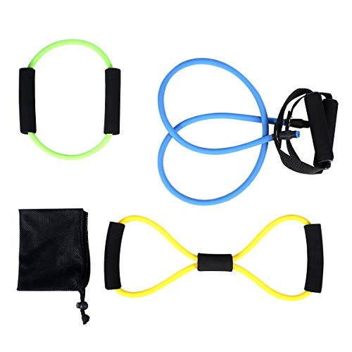 (ATHLDYN Resistance Band Set 3 Pieces- Exercise Tube Band, Figure 8 Toner Resistance Band, Pilates Ring Magic Circle Exercise Cords for Physical Therapy, Home Workouts, Yoga - 100% Life Time Guarantee)