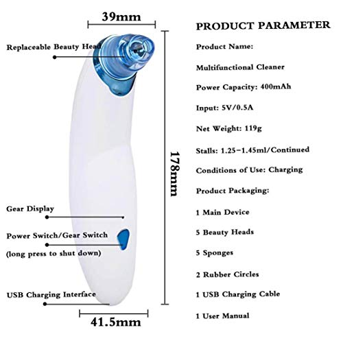 Blackhead Remover, Electronic Blackhead Vacuum Suction Removal, Skin Facial Pore Cleaner, Comedo Microdermabrasion Exfoliating Machine for Women & Men (Blue) by Sunshinehomely (Image #3)