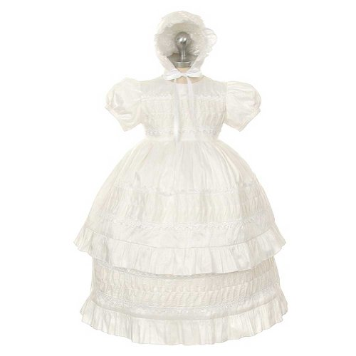 Rain Kids White Silk Lace Bonnet Baptism Dress Baby Girl 6M by The Rain Kids
