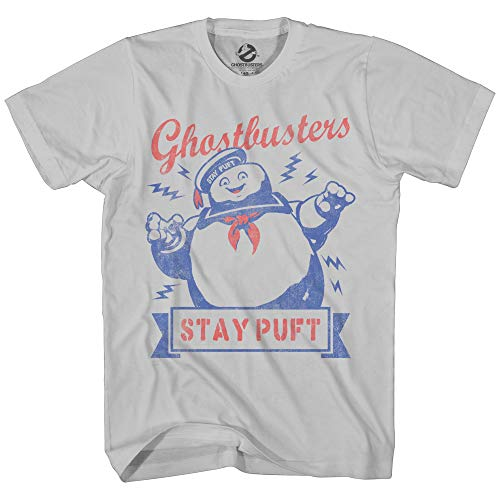 Ghostbusters Mens Stay Puft Shirt Stay Puft Logo Tee Shirt Graphic T-Shirt (Silver, Large)