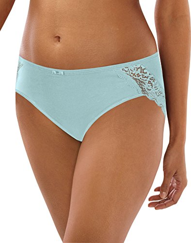 Bali Women's Cotton Desire W/ Lace Hipster, Country Spearmint, 9