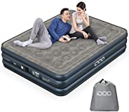 iDOO Air Mattress, Inflatable Airbed with Built-in Pump, 3 Mins Quick Self-Inflation/Deflation, Comfortable Be