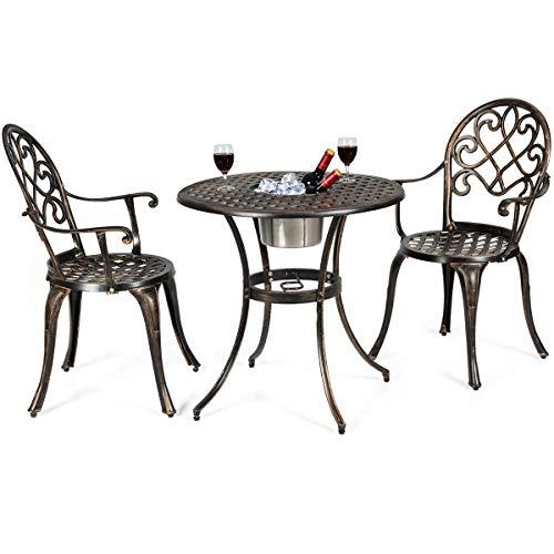 (Giantex 3pcs Bistro Table Set Cast Aluminum Outdoor Patio Furniture Set Round Table W/Removable Ice Bucket, 2 Chairs Antique Garden Furniture Weather Resistant (Antique Bronze))