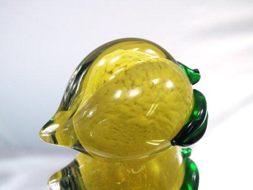 M Design Art Handcraft Glass Yellow Peach Crystal Handmade Paperweight