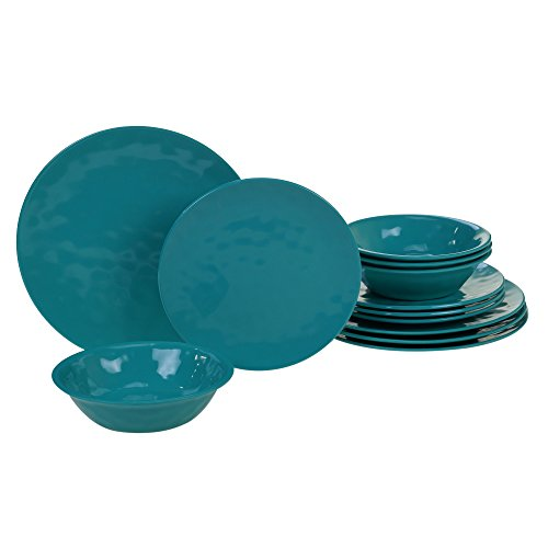 Certified International  Melamine  Teal 12 pc Dinnerware Set