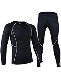 Youths Thermal Base Layer Underwear Skiing Cycling Running Compression Shirt and Tight