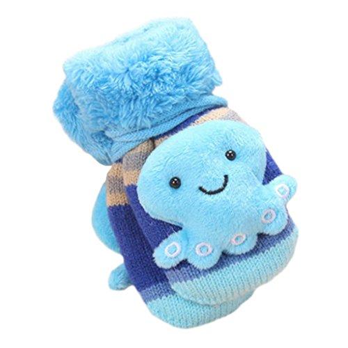 Handschuhe Longra,Nette Karikatur verdicken heiße Säuglingsbaby-Mädchen-Jungen der Winter-warmen Handschuhe Fäustlinge(1 bis 6 Jahre) (Blue)
