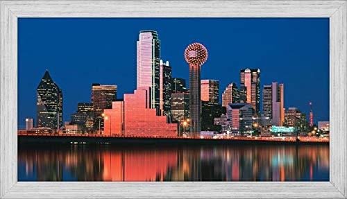 Easy Art Prints Panoramic Images's 'Reflection of Skyscrapers in a Lake, Digital Composite, Dallas, Texas, USA' Premium Framed Canvas Art - 40