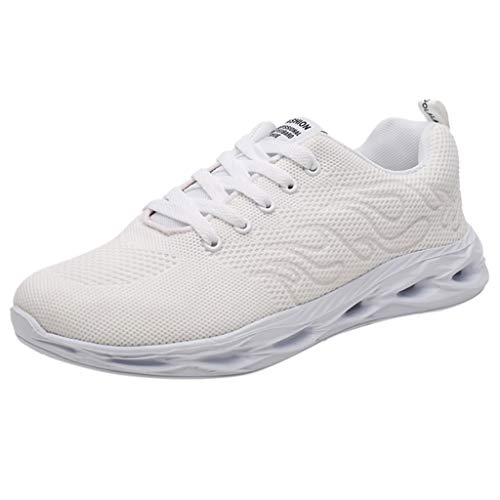 ◕‿◕Watere◕‿◕ Men's Sneakers,Men's Fashion Breathable Lightweight Running Shoes Woven Mesh Non-Slip Sneakers White