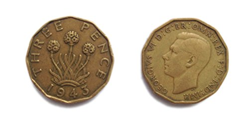Stampbank Coins for Collectors - Circulated 1943 Threepenny bit / Three Pence Coin / 3p / Good Grades