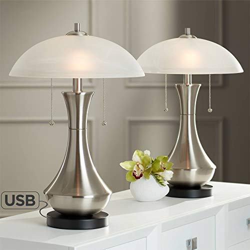 Simon Modern Accent Table Lamps Set of 2 with USB Charging Port Metal Half Moon Glass Shade for Living Room Bedroom Bedside Nightstand Office - 360 Lighting