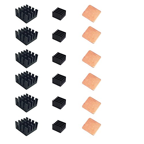 Yoolight Raspberry Pi Heatsink Kit Copper + Aluminum with 3M 8810 thermal conductive adhesive tape for cooling cooler Raspberry Pi 3, Pi 2, Pi Model B+ (18pcs)