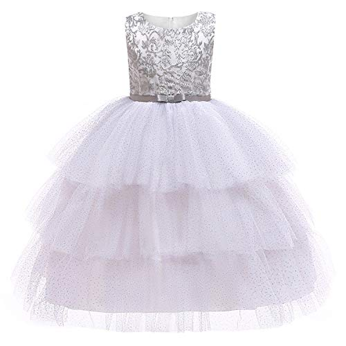 (Baby Girls Golden Thread Embroidery Elegant Party Dress for Girls Wedding Dress Kids Dresses for Toddler Girls Christmas Clothes,-Silver,3T)