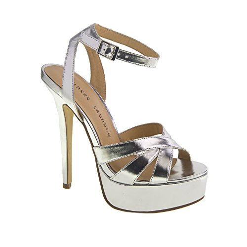 Chinese Laundry Women's Alyssa Metallic Platform Dress Sandal, Silver, 6 M US (Silver Sandals Chinese Laundry)