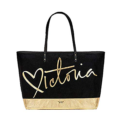 Victoria's Secret Black and Gold Carryall Zippered Tote Bag