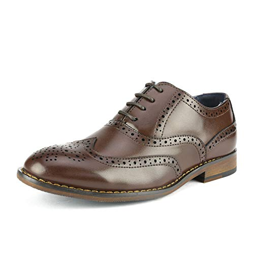 Bruno Marc Big Kid Prince_K_2 Dark Brown Boy's Classic Oxfords Dress Shoes Size 4 M US Big Kid
