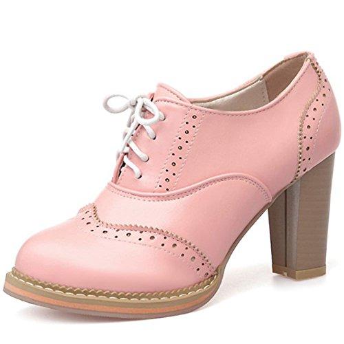 (DoraTasia Women's Vintage Lace Up Pu Leather Block Heel Oxfords Ankle Booties Cuban Brogues Dress Shoes )