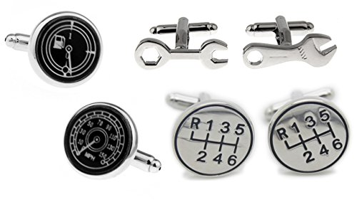 3-pair-set-of-auto-themed-cufflinks-gear-shift-6-speed-wrenches-speedometer-with-gas-gauge-by-the-pr