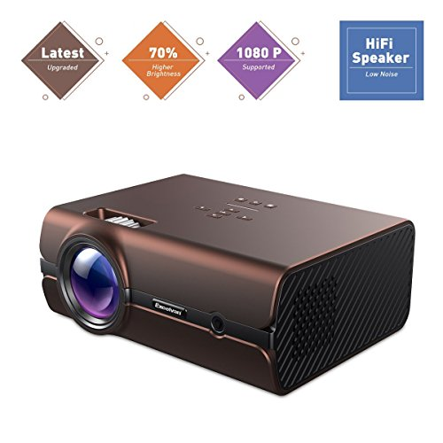 Excelvan Video Projector HD Multimedia Home Theater Display Projector Support 1080P 70% Brighter with HDMI USB SD Card for Entertainment Game Party Home Movie Video Cinema (Brown) by Excelvan