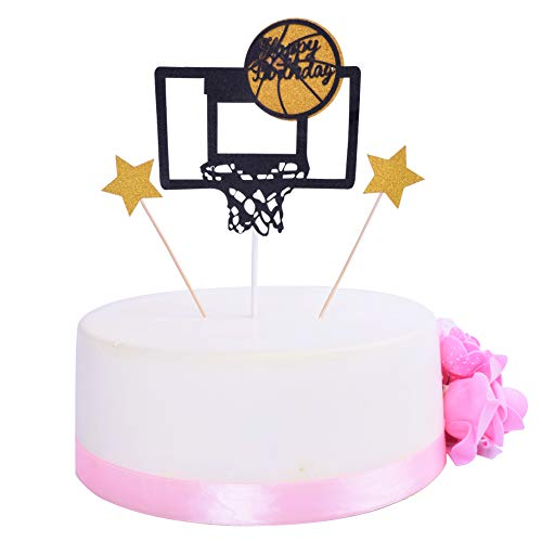 SHAMI Basketball theme cake topper for Boy birthday CupCake Topper Fathers Day cake topper Party Decorations Happy Father Birthday Supplies Decorations Man Birthday(Black)