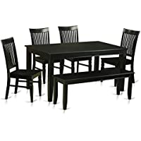 East West Furniture DUWE6-BLK-W 6 Piece Table and 4 Kitchen Chairs Coupled with A Bench Set