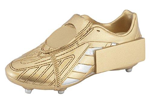 Fussball-Pokal (goldfarbener Schuh) mit Ihrem Wunschtext graviert.