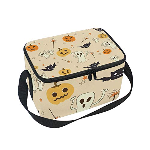(Tarity Halloween Pumpkin Ghost Bats Insulated Lunch Bag Cooler Lunchbox Container Tote Bag with Shoulder Strap for Women Men Boy Girls Kids)