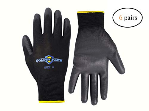 Golden Scute Polyurethane Coated Work Gloves with Polyester Shell. Economy Safety Gloves for Landscaping, Material Handling, Farming, Gardening, Agriculture, 6 Pairs(Large/Size 9)