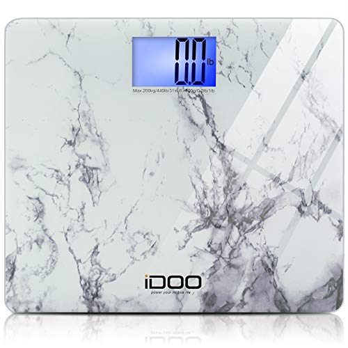iDOO High Precision Digital Bathroom Weight Scale 440 Pound Capacity, Ultra Wide Heavy-duty Platform with Elegant Marble Design