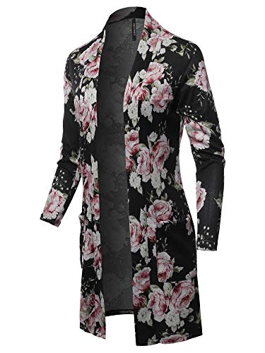 Casual Solid and Print Long Length Knit Cardigan Black Mauve Size XL - Ribbed Cardigan Print