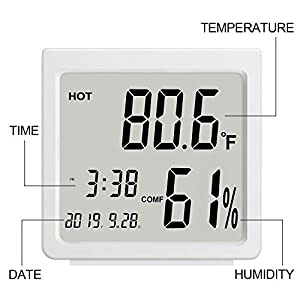 AE Life Indoor Thermometer Hygrometer, Temperature Humidity Gauge with Digital Mini Desk Clock, Backlit Accurate Monitor Clear Reading, °C/°F Switch, Calendar, Time Display for Home, Office – White
