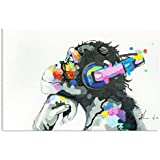 Bignut Wall Art 100% Hand Painted Monkey with Headphone Oil Paintings Hand Painted on Canvas Wall Art for Living Room Chimps Media Room