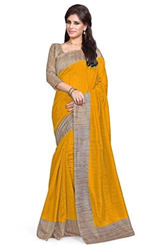 Yellow Sari (Mirchi Fashion Women's Art Silk Casual Latest Indian Saree)