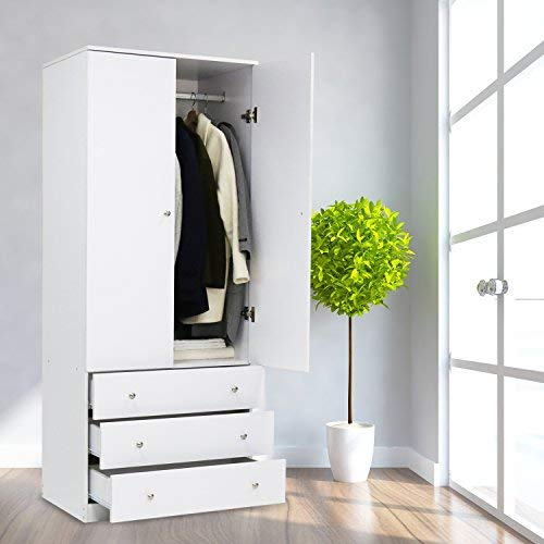 Kinsuite Wardrobe Closet Armoire Home Furniture Organizer with 3 Drawers and Hanging Rod 2 Door Cabinet for Bedroom Clothes White