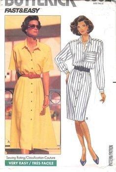 (Vintage Uncut Butterick Fast & Easy Shirt Dress Pattern 3902, Sz 14-18)