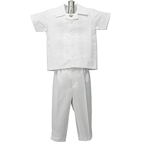 Boys Guayabera Shirt, Boys Baptism Shirt w/ Pants Set, Mexican Wedding Shirt, Cotton Guayaberas, style 902 (3 ()