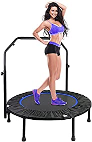 """Veluoess 40"""" Mini Trampoline, Max. Load 330lbs Fitness Rebounder with Adjustable Handle for Workout,Folda"""