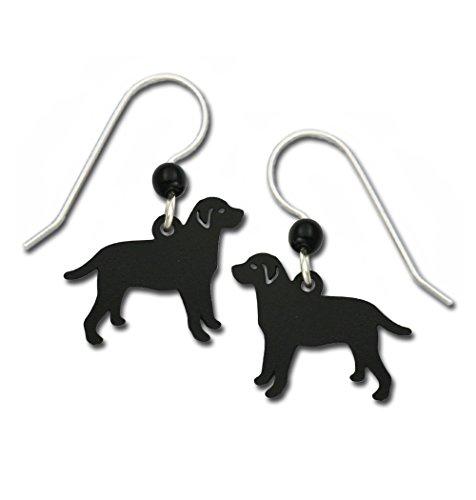 Sienna Sky Shadow Black Lab Labrador Retriever Dog Earrings with Gift Box Made in USA