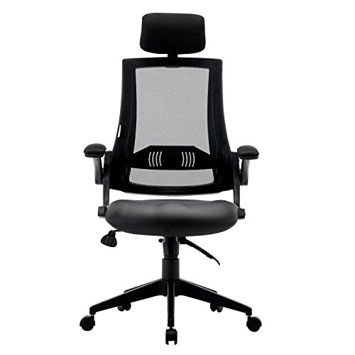 ffice Chair with Leather Seat, High Back,Flip-up Armrests,90°- 110° Tilt Lock,Adjustable Back Lumbar Support Computer Desk Task Executive Swivel Chair ()