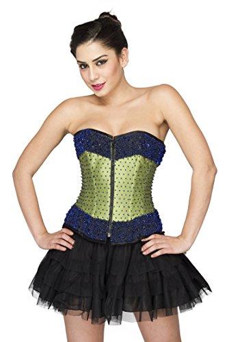 Green Satin Blue Sequins Gothic Burlesque Overbust Black Net Skirt Corset Dress