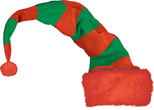 Long Striped Felt And Plush Elf Hat | Christmas -