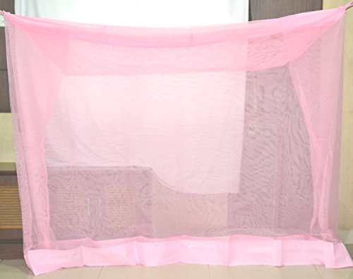 Iblay Cotton Mosquito Net for Double Bed King (8X8 Ft, Pink)