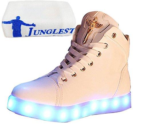 (Present:kleines Handtuch)JUNGLEST® Damen Hohe Sneaker Weiß USB Aufladen LED Leuchtend Fasching Partyschuhe Sportsc Weiß